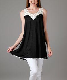 Look at this #zulilyfind! Black & Cream Crochet-Yoke Tunic - Plus Too #zulilyfinds