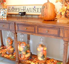 Pumpkins, Gourds and Indian Corn in jars for deco