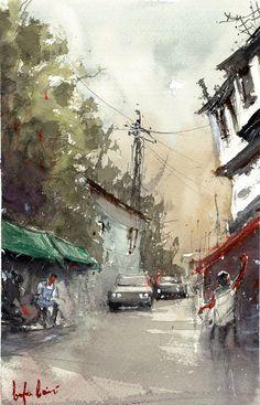 baha boru - the tradesmen, ankara ulus watercolor painting