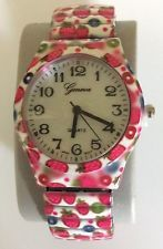 GENEVA WOMEN'S WATCH STRAWBERRY DESIGN STRETCH BAND PEARL DIAL EASY TO READ!