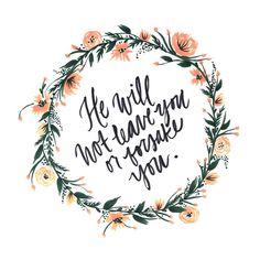 Deuteronomy 31:6, Bible verse, orange, floral, wreath, hand lettering, watercolor, brush pen, green