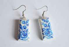 small earrings of wood with hand painted. by VivaArcenciel on Etsy