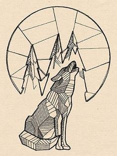 Geometric Howling Wolf w/Moon. Love this but i'd almost like an owl instead of a wolf