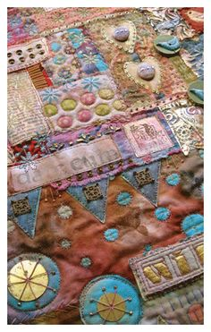 mixed media art techniques by beryl taylor - Fabric Collage Fabric Art, Fabric Crafts, Fabric Books, Textiles, Fibre And Fabric, Crazy Patchwork, Fabric Journals, Textile Fiber Art, Mixed Media Artwork