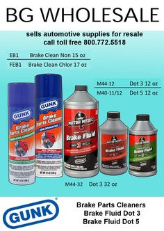 Radiator Speciality Brake Parts Cleaner, EB1, FEB1, Brake Fluid DOt 3 and Brake Fluid Dot 5