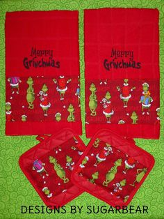 Grinch Kitchen Towels and Pot Holder Set by DesignsbySugarbear