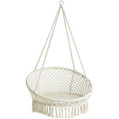 Pier 1 Imports White Macrame Hanging Saucer Chair ($140) ❤ liked on Polyvore featuring home, outdoors, patio furniture, hammocks & swings, white, macrame hammock, outdoor hammock, outside swings, outdoor hanging chair and pier 1 imports