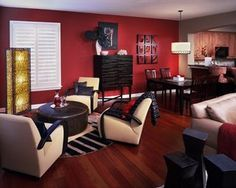 Warm Color Scheme With The Red Walls And Brown Orange Accents