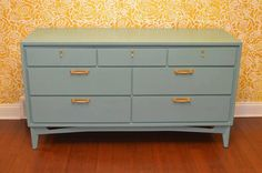 Mid Century Modern Turquoise Painted Solid Wood by AstralRiles, $550.00