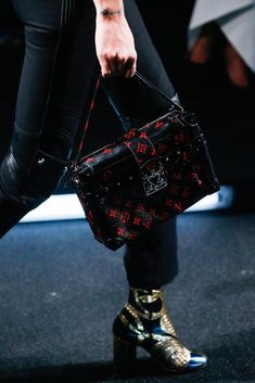 2046993574 Louis Vuitton Black Red Monogram Canvas Petite Malle Bag - Spring 2015   Louisvuittonhandbags Vuitton