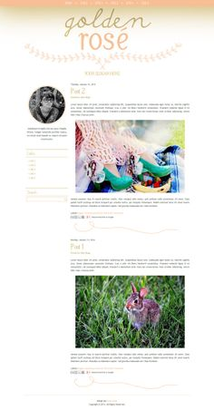 GOLDEN ROSÉ blogger template, orange blogger template, pink blogger template, glam blogger theme, blog design