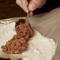 Making tamales is a holiday tradition in Latin American homes. Try your hand at this festive food with our step-by-step guide. Authentic Tamales Recipe, Hot Tamales Recipe, Sweet Tamales, Homemade Tamales, Tamale Recipe, Pork Tamales, Mexican Tamales Recipe Beef, Spanish Dishes, Mexican Dishes