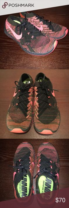 Super Comfy Nike Free Sneakers Only Worn a Few Times, Great Condition! Coral Pink Color Mixed with a Little Dark Green and Black. Very Light Weight Making them Very Comfortable. Nike Shoes Athletic Shoes