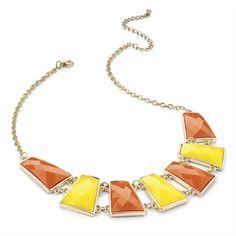 Collana dorata con pietre gialle e arancio. Gold colour orange and yellow bead chain necklace. Euro $14.90