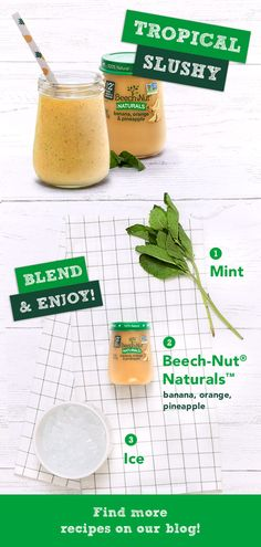 Enjoy Beech-Nut's Easy-to-Make Refreshing Mango Mint Slushy Fruit Drinks, Healthy Drinks, Healthy Snacks, Healthy Eating, Healthy Recipes, Bar Drinks, Beverages, Baby Food Recipes, Snack Recipes