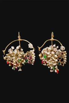 India | A pair of 'Nath' Earrings, which would have originally been worn as nose rings by women in North-Central India | ca. first half 1900; the nose rings.