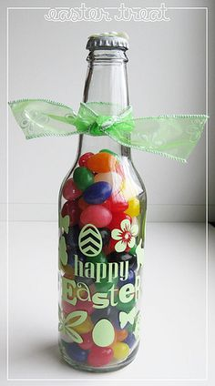 """decorated and filled """"Easter"""" or valentines or ... bottle .  silhouette  vinyl"""
