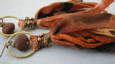 Sari silk tassel earrings fair trade recycled by PersimmonPearl