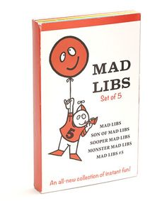 Retro Mad Libs Anniversary Pack by Penguin - As good for grammar as they are for the funny bone, Mad Libs are interactive stories that allow kids and adults alike to insert similar parts of speech into situational stories, resulting in outrageous outcomes! This set features five of the original Mad Libs books, complete with the rockin' retro covers. Perfect for party games and road trips, $14 !!  #zulilyfinds