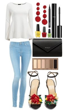 """Untitled #1761"" by elizabeth-xsomosmasqueamorr ❤ liked on Polyvore featuring Hudson Jeans, Charlotte Olympia, Balenciaga, Urban Decay, ESCADA, Kenneth Jay Lane, OPI, NARS Cosmetics and Chanel"