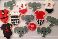 Alabama Roll Tide Big Al Onesies Platter - Decorated Sugar Cookies by I Am The Cookie Lady