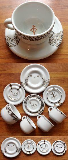 Pébéo Porcelaine 150 markers on porcelain dishes  http://www.dickblick.com/products/pebeo-porcelaine-150-paint-markers/?clickTracking=true  http://www.amazon.com/s/ref=nb_sb_noss_2?url=search-alias%3Daps=porcelaine+150
