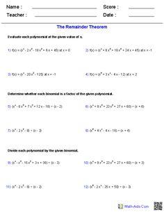 The Binomial Theorem Worksheets | Math-Aids.Com | Pinterest ...