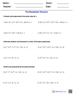 The Remainder Theorem Polynomial Functions Worksheets