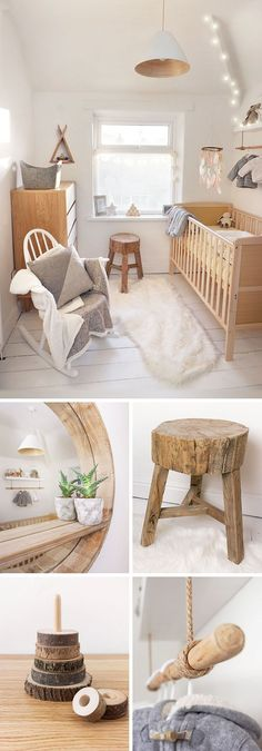Scandi, nordic, woodland, ethnic, Native American nursery. Featuring rocking chair, rustic wooden stool, circular wooden mirror, fur rug and scandinavian style furniture. This babies room is completed with wooden cot and clothes rail.