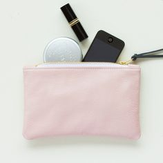 Pale Pink Leather Zipper Clutch Zipper Pouch от JillyDesigns