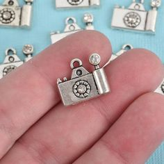 10 Silver CAMERA Charms, Rhinestone Accents, 16x14mm, chs3558