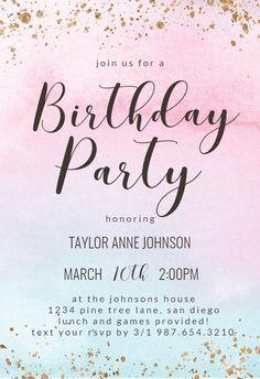 Rainbow Ombre - Birthday Invitation #invitations #printable #diy #template #birthday #party
