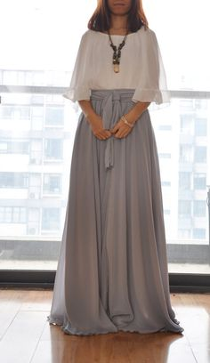 Beautiful Bow Tie Chiffon Maxi Skirt Silk Skirts by Dressbeautiful