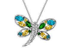 From our 'Rainbow Topaz' Collection: Dragonfly pendant with paraiba, honey and rainforest natural topaz.