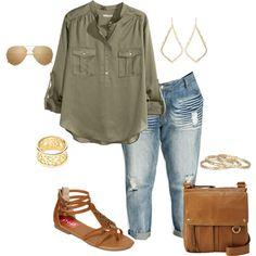 I've got something similar. Green shirt, denim skirt, handbag, shoes, gold jewelry, and glasses.