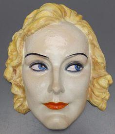 Keramos Art Deco Terracotta Wall Mask Head 940 Signed Podany Austria