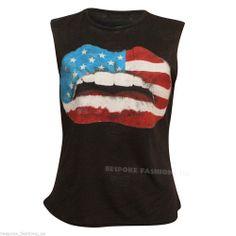 New Women's American Flag Lip Print Ladies Tank Top Vest  Tee T-Shirt  SM & ML