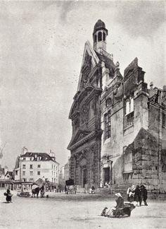Black and white drawing by T. S. Boys of Paris: St. Etienne-du-Mont, Paris. Built under Francis I in 1517.