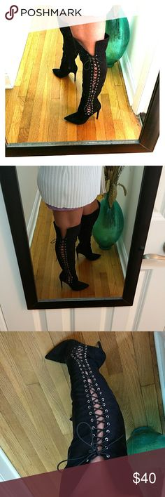 SUEDE SEXY THIGH HIGH LACE UP BOOTS SZ 8 Absolutely gorgeous!! only wore one time!! thigh high suede lace-up and zipper boot excellent condition and very comfortable !! size 8Let's go shopping! 👒💄👗🌂👙👜🎀👠 Shoes Over the Knee Boots