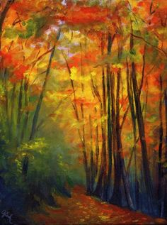 Autumn Walk, by Genevieve Cseh  #art #painting