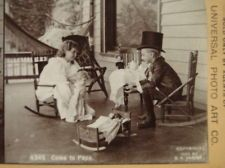 1894 Children Boy w/ Top Hat Girl Tea Party Bisque Dolls Toys Stereoview SV