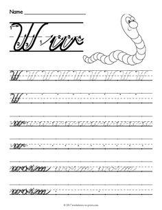 Free Printable Cursive W Worksheet Cursive Writing Practice Sheets, Teaching Cursive, Cursive Handwriting Practice, Writing Practice Worksheets, Improve Your Handwriting, Handwriting Analysis, Handwriting Worksheets, Writing Cursive, Writing Activities