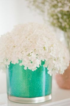 DIY glitter vases❤ --pretty with the bright vase and white flowers..bridal shower?