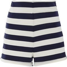MDS Stripes     Lucy Striped Shorts (1.515 ARS) ❤ liked on Polyvore featuring shorts, stripe, high-waisted shorts, high rise shorts, high waisted shorts, highwaist shorts and high-rise shorts