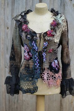 RESERVED---Ashes and roses- extravagant  bohemian romantic cardi, shabby, rustic, old lace, wearable art,