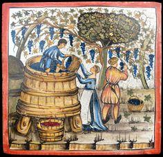 Dettaglio articolo 5476 Majolica tile, copy from Tacuina Sanitatis, hand made by Recuperando srl Italy