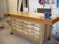 Solid top, casters, drawers; what more do you need #woodworkingbench