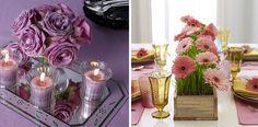 centros de mesa con flores de tela y velas - Buscar con Google