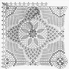 Tejido Facil: Patrn: Manta para bebe al crochet Crochet Motifs, Crochet Diagram, Crochet Chart, Crochet Squares, Crochet Granny, Filet Crochet, Irish Crochet, Crochet Doilies, Crochet Stitches