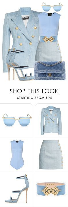 """Untitled #1421"" by styledbyjovonxo ❤ liked on Polyvore featuring Le Specs, Balmain, Lisa Marie Fernandez, Giuseppe Zanotti and Chanel"